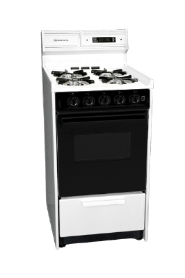 Summit Refrigeration WNM1307DK 20-in Deluxe Range w/ Electronic Ignition, Clock & Oven Window, Black, 2.5-cu ft, NG