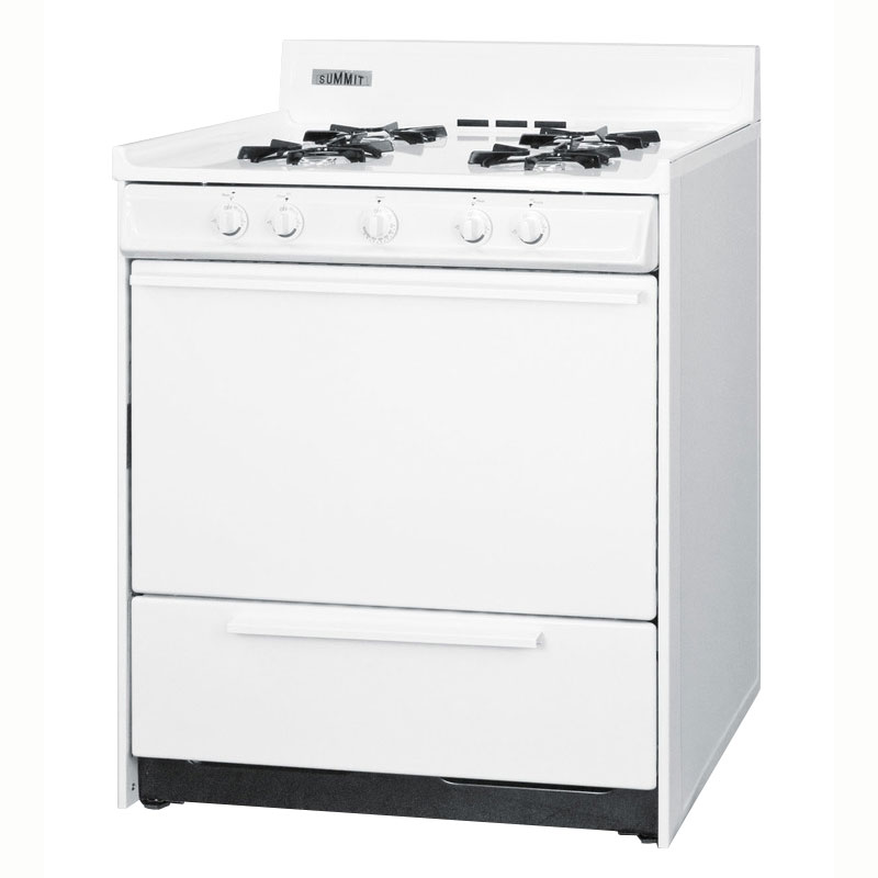 "Summit WNM2107 30"" Gas Range w/ Electronic Ignition, White, 3.69-cu ft, NG"