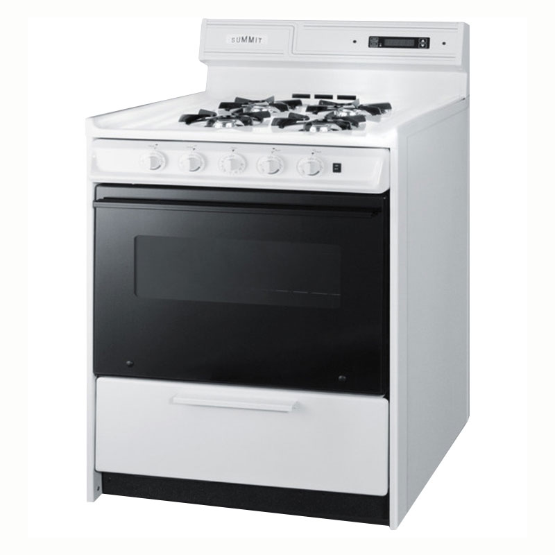 "Summit WNM2307DK 30"" Deluxe Gas Range w/ Electronic Ignition, White, 3.69-cu ft"