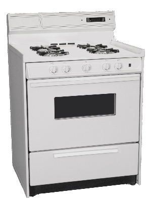 Summit Refrigeration WNM2307KW NG 30-in Deluxe Range w/ Electronic Ignition, Clock & Oven Window, White, 2.92-cu ft, NG