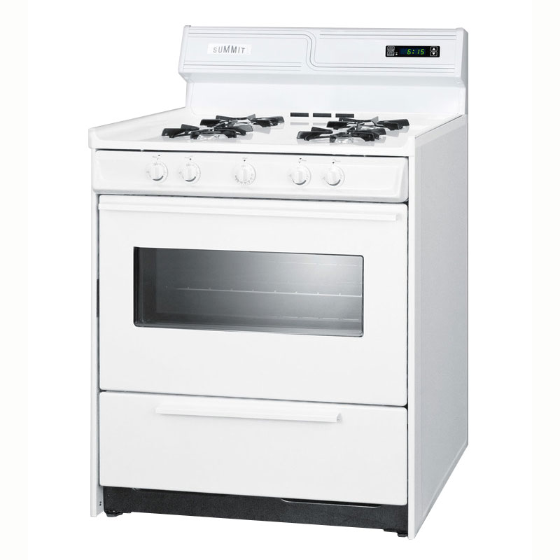 "Summit WNM2307KW 30"" Deluxe Gas Range w/ Electronic Ignition, White, 2.92-cu ft, NG"