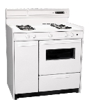 Summit Refrigeration WNM4307KW NG 36-in Deluxe Range w/ Electronic Ignition, Clock & Oven Window, White, 2.92-cu ft,