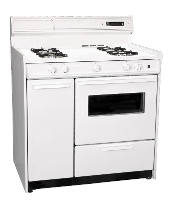 Summit Refrigeration WNM4307KW LP Open Burner Gas Range, Spark Ignition, Broiler Below Oven, White, LP