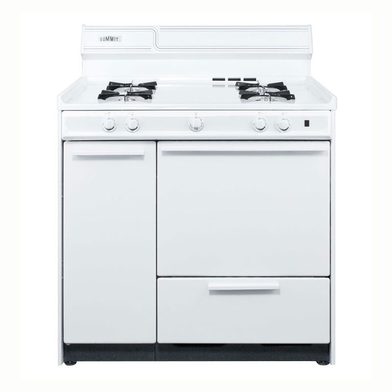 Summit WNM4307 Range w/ Electronic Ignition, 2-Oven Racks & 2-Shelf Storage, White, 2.92-cu ft, NG