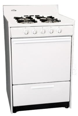 Summit Refrigeration WNM6107 NG 24-in Range w/ Electronic Ignition, 4-Burners & Handle, White, 2.9-cu ft, NG