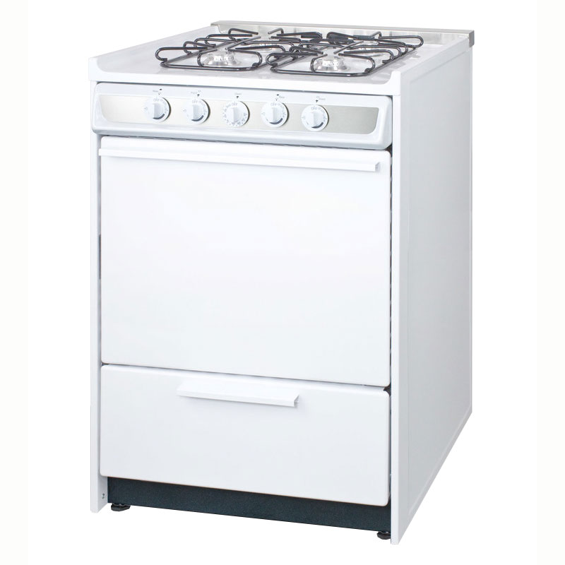 "Summit WNM616R 24"" Gas Range w/ Sealed Burners, White, NG"