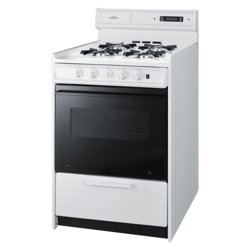 "Summit WNM6307DK 24"" Deluxe Gas Range w/ Electronic Ignition, Black, 2.9-cu ft, NG"