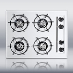 "Summit WTL03P 24"" Porcelain Cooktop - 4-Burners, Battery Start Ignition, Recessed Top, White"