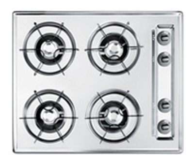 "Summit Refrigeration ZTL03P 24"" Gas Cooktop - 4-Burners, Battery Start Ignition, Brushed Chrome"