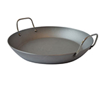 "Mauviel 3637.36 13.8"" Round Paella Gratin Pan - Induction Ready, Carbon Steel, Black"
