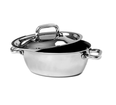 "Mauviel 5133.13 4.8"" Oval Mini Stew Pot w/ 12.8-oz Capacity - Lid, Stainless"