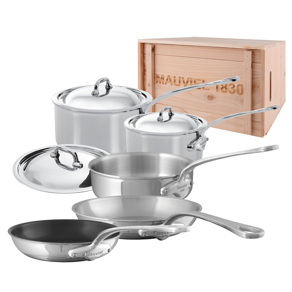 Mauviel 5200.21WC 8-Piece M'Cook Cookware Set w/ Wood Crate, Stainless