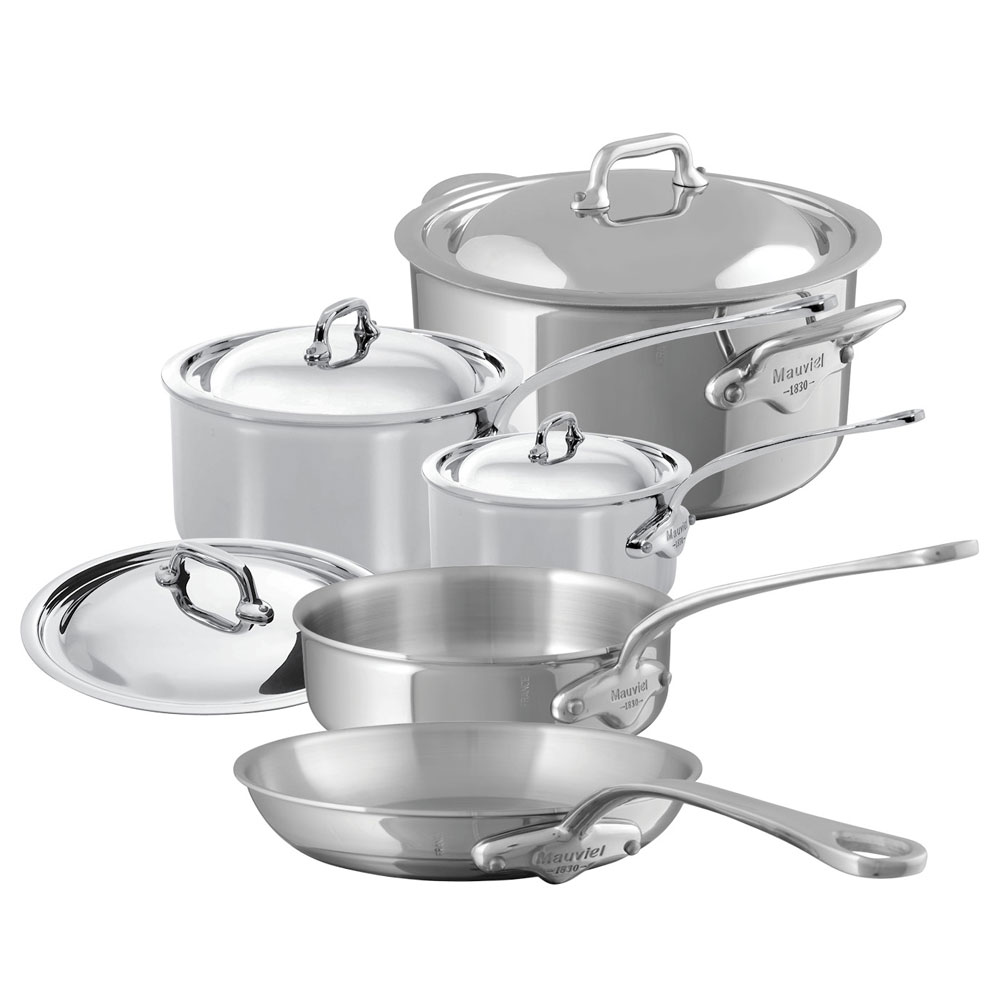 Mauviel 5200.22 9-Piece M'Cook Cookware Set w/ Oversized Handles, Stainless