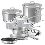 Mauviel 5200.24 14-Piece M'Cook Cookware Set w/ Oversized Handles, Stainless