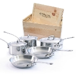 Mauviel 5210.03WC 8-Piece Cookware Set w/ Cast Stainless Steel Handles & Wood Crate