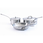 Mauviel 5210.05WC M'cook Five Piece Stainless Steel Cookware Set, Wood Crate