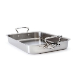 Mauviel 5235.40 15.75-in M'cook Shallow Roasting Pan, Cast Stainless Steel Handle
