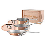 Mauviel 6100.01WC 5-Piece Copper & Stainless Cookware Set w/ Wood Crate