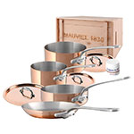 Mauviel 6100.02WC 7-Piece Cookware Set w/ Stainless Handles, Wood Crate