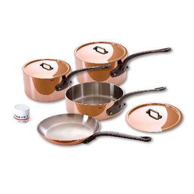 Mauviel 6400.02 7-Piece Copper & Stainless Cookware Set w/ Cast Iron Handles