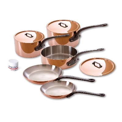 Mauviel 640003 8-Piece Cookware Set w/ Cast Iron Handles