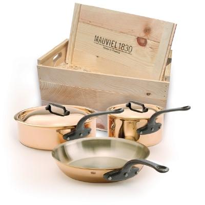 Mauviel 6501.00WC 5-Piece M'heritage Cookware Set w/ Cast Iron Ha