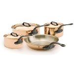 Mauviel 6502.01 7-Piece Copper Cookware Set w/ Cast Iron Handles & Cleaner