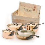 Mauviel 6502.01WC 7-Piece M'heritage Cookware Set w/ Cast Iron Handles, Wood Crate