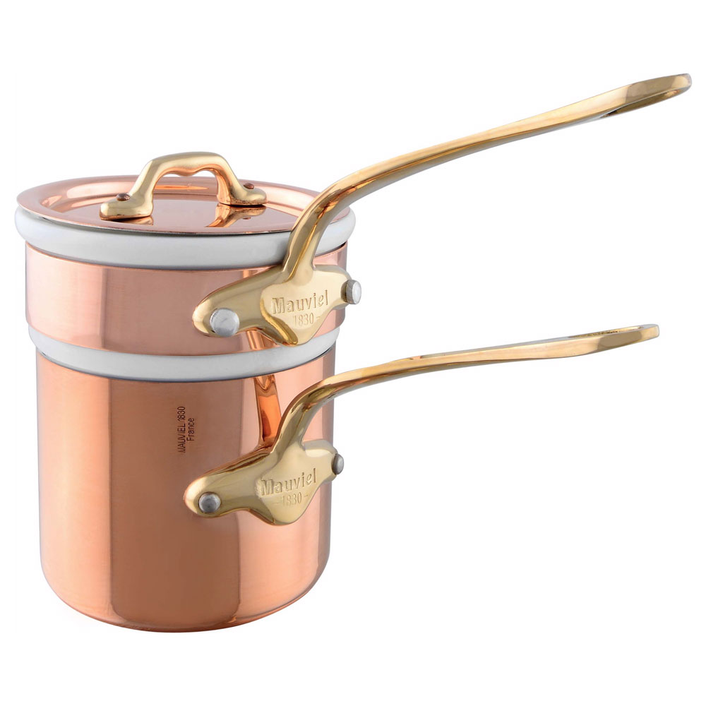 Mauviel 6504.12 Double Boiler w/ Porcelain Insert, Bronze Handles, Stainless, Polished Finish