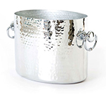 Mauviel 1603.20 10.2-in Oval M'pure Champagne Bucket w/ 2-Bottle Capacity & Handles, Hammered Aluminum