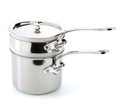"Mauviel 5204.14 5.5"" Round M'cook Bain-Marie w/ 1.6-qt Capacity & Lid, Porcelain Insert, Stainless"