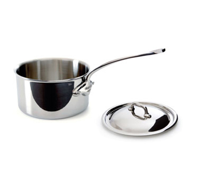 Mauviel 5210.13 9-qt Saucepan w/ Cover - Induction Compatible, 18/10 Stainless