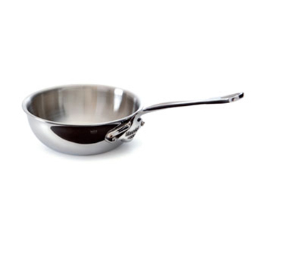 Mauviel 5212.24 9.5-in Round M'cook Curved Splayed Pan w/ 3-qt Capacity & Handle, Stainless