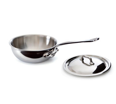 "Mauviel 5212.25 9.5"" Round M'cook Curved Splayed Pan w/ 3-qt Capacity & Handle, Lid, Stainless"