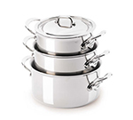 Mauviel 5231.17 6.3-in M'cook Sauce Pan w/ 1.9-qt Capacity & Handles, Lid, Stainless