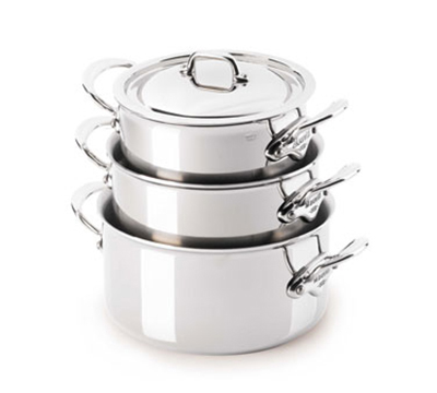 Mauviel 5231.19 7-in M'cook Sauce Pan w/ 2.7-qt Capacity & Handles, Lid, Stainless