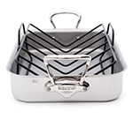 Mauviel 5217.15 M'cook Roasting Pan w/ Rack & Handles, 15.7x11.8-in, Stainless