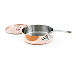 "Mauviel 6111.25 9.5"" Round M'150s Saute Pan w/ 3.4-qt Capacity & Stainless Handle, Lid"