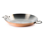 """Mauviel 6137.35 13.7"""" Stainless Steel Paella Pan w/ 4.1-qt Capacity, Copper Exterior"""