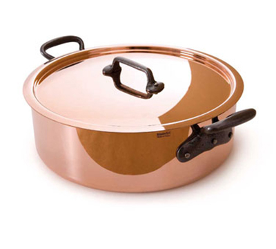 Mauviel 6430.25 9.5-in Round Rondeau Pan w/ 3.4-qt Capacity & Cast Iron Handle, Lid, Copper