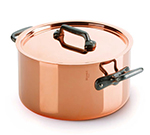 "Mauviel 6431.25 9.5"" Round M'150c Stew Pan w/ 6.4-qt Capacity & Brushed Stainless Handle, Lid, Copper"