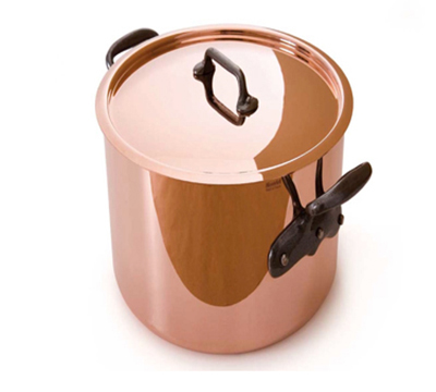 Mauviel 6432.25 9.5-in Round M'150s Stock Pot w/ 11.7-qt Capacity & Cast Iron Handle, Lid, Copper