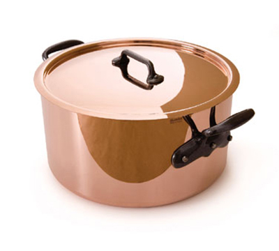 Mauviel 6505.03 11-in Round M'250c Stew Pan w/ 9.6-qt Capacity & Cast Iron Handles, Lid, Copper