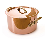 Mauviel 6505.24 9.5-in Round M'250c Stew Pan w/ 6.4-qt Capacity & Bronze Handles, Lid, Copper