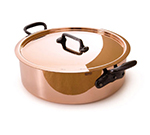 "Mauviel 6506.03 11"" Round M'250c Rondeau w/ 6.5-qt Capacity & Brushed Stainless Handle, Lid, Copper"