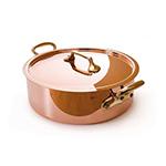 """Mauviel 6506.28 11"""" Round M'250c Rondeau w/ 6.5-qt Capacity & Bronze Handles, Lid, Copper"""