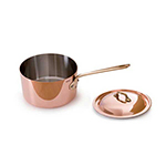 Mauviel 6523.21 8-in Round M'150b Saute Pan w/ 1.9-qt Capacity & Bronze Handle, Lid, Copper