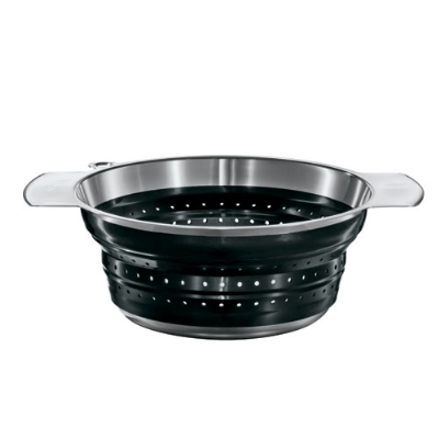 Rosle 16120 7.9-in Collapsible Colander, Stainless Steel, Black