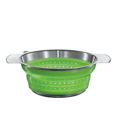 Rosle 16126 9.4-in Collapsible Colander, Stainless Steel, Green