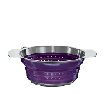 Rosle 16127 9.4-in Collapsible Colander, Stainless Steel, Purple